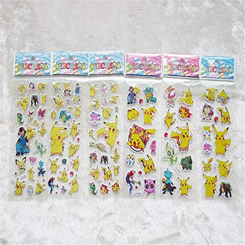 6pcs 3D Anime Cartoon Unicorn Stickers for Kids Rooms Home Decor Diary Notebook Label Decoration Toy Pikachu Bubble Pegatinas