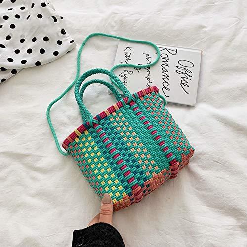 macetero,cesta mimbre,cubremacetas,cestas almacenaje,nordico,Bolso de mano tejido de playa informal para mujer, bolso...