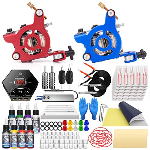 Wormhole Complete Tattoo Kit for Beginners Tattoo Power Supply Kit 2 pcs Coil Tattoo Machine Guns 8 Tattoo Ink Kit 30 Tattoo Needles Tattoo Machine Kit (Red)