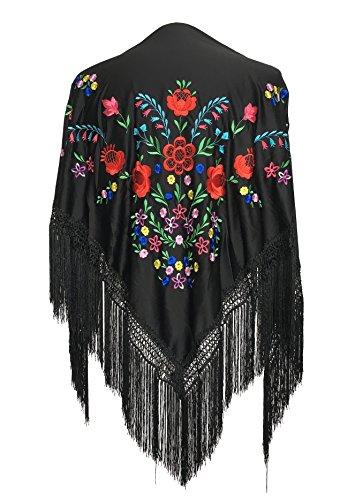 La Señorita Spanischer Manton/Tuch, schwarz mit verschiedenen Blumen