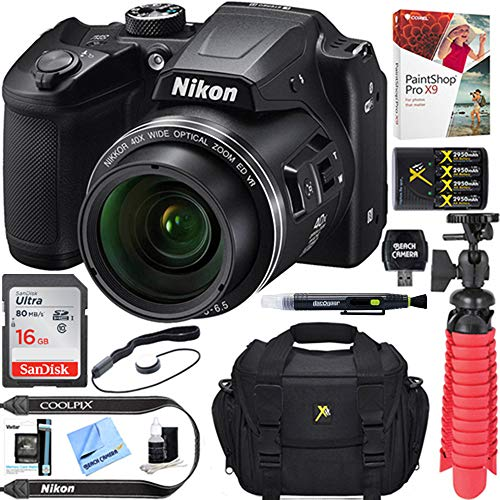 Nikon COOLPIX B500 16MP 40x Optical Zoom Digital Camera w/Built-in Wi-Fi NFC & Bluetooth (Black) +...