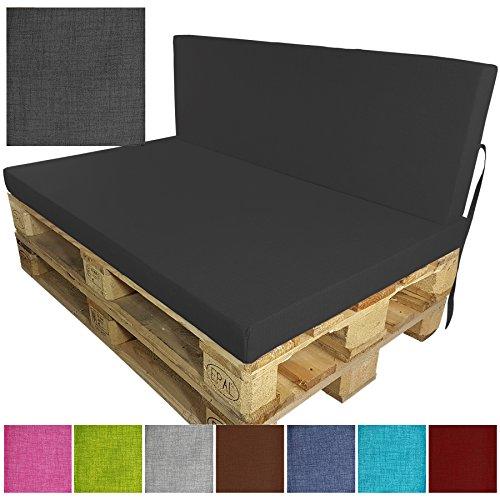 DILUMA Palettenkissen Tino Sitzkissen 120x80 cm anthrazit - Sitzauflage für Palettensofa Indoor Outdoor - schmutzabweisende und Wasserabweisende Palettenauflage