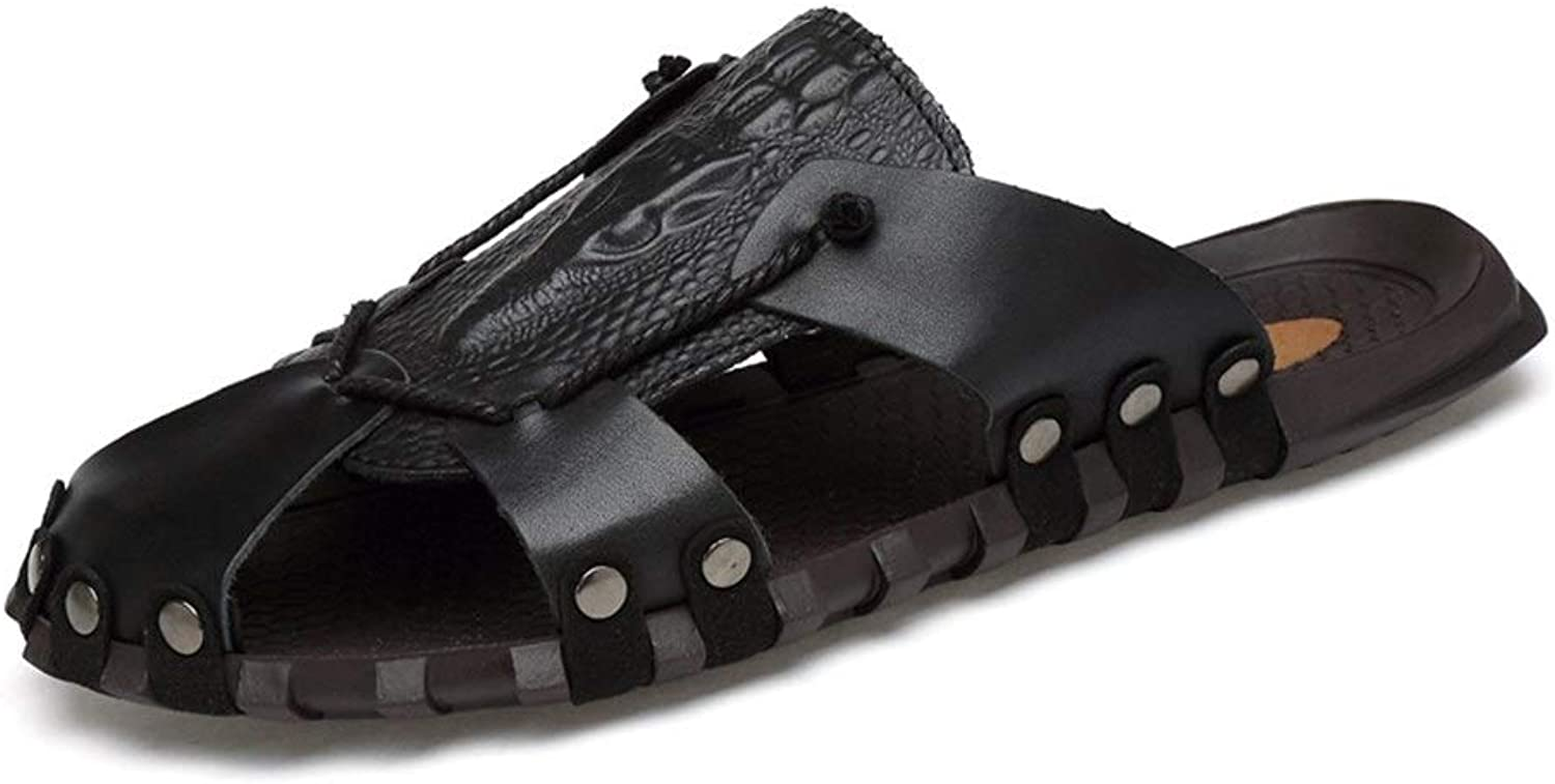 Men Half Sandals Casual Slip On Style OX Leather Rivet Reinforcement Anti-Collision Toe Hollow Slippers (color   Black, Size   7 UK)