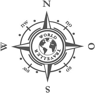 Generic Kompass in 20x20cm oder 30x30cm Aufkleber Windrose Aufkleber Wohnmobil und Auto Aufkleber (185) (30x30cm, dunkelgrau matt)
