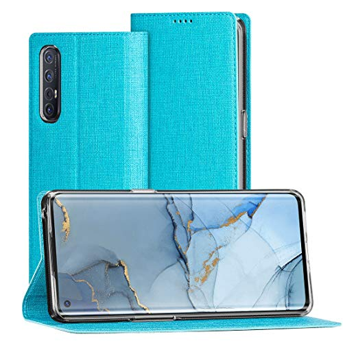 FUNMAX+ Oppo Find X2 Neo 5G Hülle, PU Leder Handyhülle mit Kartenfach, Schutzhülle Hülle Tasche Flip Cover Standfunktion Stoßfest Brieftasche für Find X2 Neo (Blau)