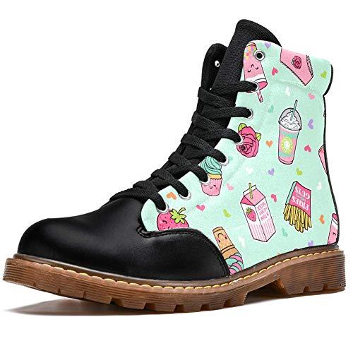TIZORAX Cupcake Prints High Top Lace Up Klassische Canvas Winterstiefel Schule Schuhe für Herren Teen Jungen, Mehrfarbig - mehrfarbig - Größe: 45 EU