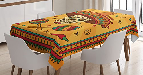 Mexican decoración mantel por Ambesonne, Mexican Sugar Skull Cartoon Carnaval Cartoon tradicional celebración, comedor cocina funda para mesa rectangular, 60x 90cm