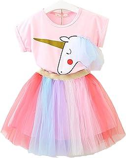 Pequeña niña Unicornio Casual Encaje Vestido Suave Camiseta Arcoiris Falda (1-9 años de Edad) (90-140cm)