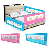 Barriera per letto bambini 150cm, sponda per letto bambini sbarra letto, Barriera di sicurezza per letto bambino, portatile letto protezione pieghevole universale (rosa, 150x43x34.5cm)