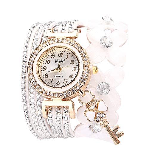 Damen Armbanduhr FGHYHBlumen Genf Uhren modische stilvolle Quarz Armband Damen Diamant Armband Uhr(WH)