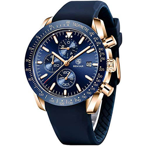Relojes Hombre BENYAR Cronógrafo Analógico Cuarzo 3bars Impermeable Silicona Deportivo Diseño Casual de Negocios Relojes de Pulsera Regalo Elegante para Hombre