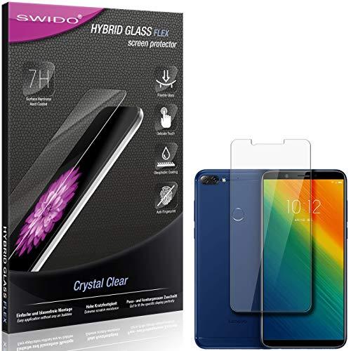 SWIDO Panzerglas Schutzfolie kompatibel mit Lenovo K5 Note (2018) Bildschirmschutz-Folie & Glas = biegsames HYBRIDGLAS, splitterfrei, Anti-Fingerprint KLAR - HD-Clear