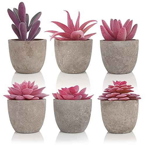 SAJANDAS Petites Plantes Succulentes Artificielles Rose avec Pot Gris, Lot de 6 Plantes Artificielles Interieur Deco, Fausse Plantes en Pot pour Décoration Bureau, Balcon, Salon, Maison