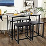 Modern Industrial Table and Chair Set,5-Piece Dining Room Table Set, Bar Pub Table Set, Industrial Style Counter Height Kitchen Table with 4 Backless Bar stools for Dining Area, Black Finish