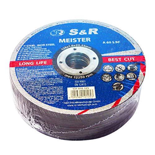 S&R Trennscheibe für Metall, Stahl, Edelstahl/INOX 125x1,0x22,23mm A60 S-BF, Set 25 Stück (Metall, Stahl, Edelstahl), für Winkelschleifer