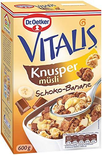 Dr. Oetker Vitalis Knuspermüsli Schoko-Banane, Knuspermüsli mit Vollmilchschokolade und Banane, 5er Packung (5 x 600g)