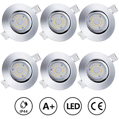 Anpro 6Stk LED Einbaustrahler Flach Dimmbar + Anschlussdose, Einbauleuchten Deckenstrahler Einbauspot 230V 5W LED-Modul 3 Beleuchtungsmodi Ausschalter, Warmweiß [Energieklasse A+]