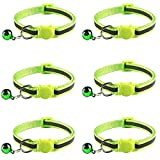 Tafeiya 6x Reflective Design Adjustable Cat Collars 20-32cm More Safety Quick Release Safety Buckle with Bell (Fluorescent Green)