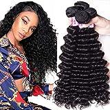 UNice Hair 10A Brazilian Deep Wave Human Hair 3 Bundles Weaves Unprocessed Real Raw Virgin Human Hair Extensions Natural Color (16 18 20)
