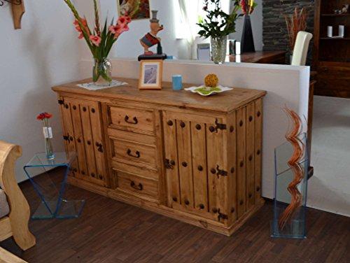 MiaMöbel Sideboard Mexico Möbel 125x87x48 cm Landhausstil Massivholz Pinie Honig