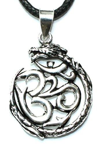budawi® - Anhänger OM & Drache im Ring 925er Silber, ca. 31 x 28 mm, Kettenanhänger Chinesischen Drache