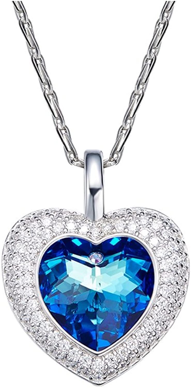 bluee and White Swarovski Crystal Elements Heart Pendant CRY E811 J  bluee Pearls