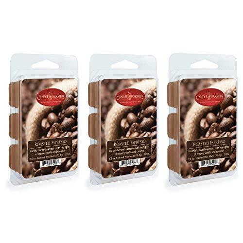 CANDLE WARMERS ETC 3-Pack 2.5 oz Wax Melt Tart Brick, Roasted Espresso