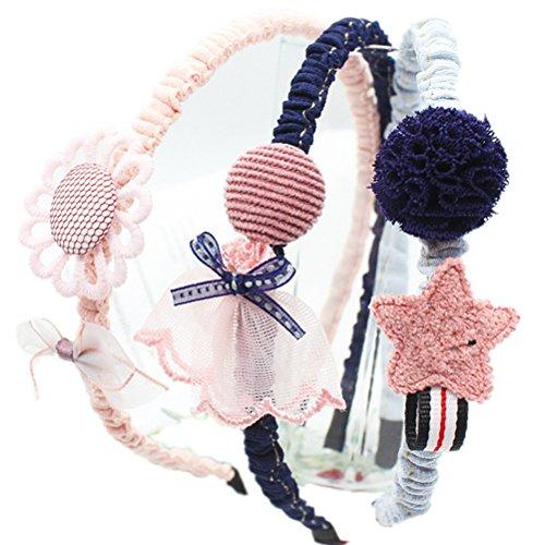 Cuhair 3 pcs mignon Dessin animé en dentelle Fleur Cheveux Hoops Bandeaux cheveux Accessoires Cheveux pour Enfants Filles