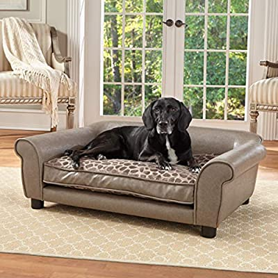 Amazing Beige Faux Leather Comfy Dog Couch Desirable Dog Beds Machost Co Dining Chair Design Ideas Machostcouk