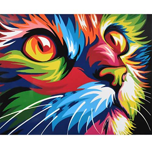 NATUCE Pintar por Numeros para Adultos Niños Pintura por Números con Pinceles y Pinturas Decoraciones, DIY Conjunto Completo de Pinturas para el Hogar Colorido Gato (16*20 Pulgadas, Sin Marco)
