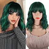 DEYNGS Fashion Short Wavy Wigs With Flat Bangs Natural Black Synthetic Full Wigs For Women None Lace Wigs That Look Real Heat Resistant +Free Wig Cap (Green)