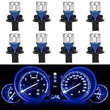 Partsam 8Pcs 168 T10 Speedometer Odometer Tachometer Fuel Gauge High Power 5730 SMD LED Bulb Blue