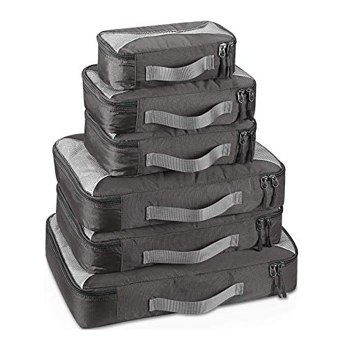 YuuHeeER Packing Cubes Value Set Travel 1S 2M 2L 1Xl Grey 6Pcs 1S2M2L1Xl 6Pc