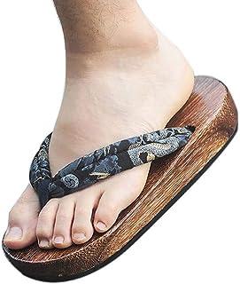 Panda Legends Zuecos de madera japoneses para hombres Sandalias Japón Zapatos planos tradicionales Modelo Dragón Negro Get...