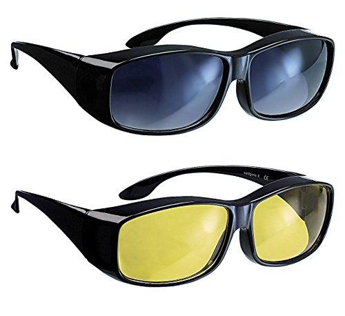 infactory Überbrillen: Schärfer-Sehen-Set mit 2 Überziehbrillen Day Vision & Night Vision (Nachtbrillen)