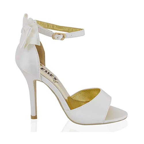 65827f67b61 ESSEX GLAM Womens Stiletto HIGH Heel Ankle Strap Buckle Bow Ladies White Ivory  Bridal Peeptoe Sandals