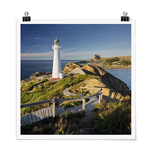 Bilderwelten Poster Déco Imprimé Castle Point Lighthouse New Zealand Carré Mat 30 x 30cm