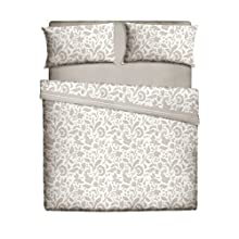 Casa Lieri, Juego de sábanas 50% algodón y 50% poliéster estampado con flores con sábana encimera, bajera y una funda de almohada