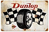 ABLERTRADE DHArt Rustic Metal Tin Sign Dunlop Flags Automotive Vintage Wall Plate Plque 8X12 Inch