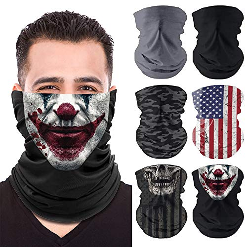 Unisex Neck Gaiter Face Mask - 6 Pack Elastic Balaclava, Neck Gator, Reusable Face Scarf Masks for Men and Women