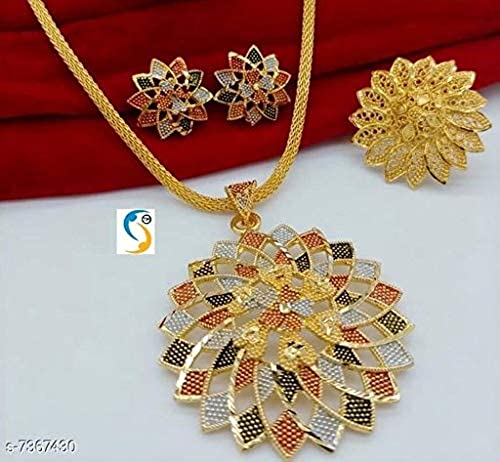 New Flower Design Gold Plated P Set Chain Ring Combo Jewellery