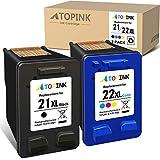 ATOPINK - Cartucho de tinta remanufacturado de repuesto para HP 21XL 22XL para HP DeskJet 1415 3910 D2330 F2110 F4135 D1568 OfficeJet 4315 J3635 J5520 4312 4319 PSC 1410v 10v 10v XI (Color Negro)