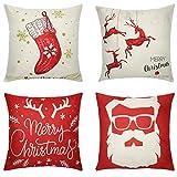 Tensphy Fundas Navideñas para Cojines 4PCS Funda de Almohada de Lino 45 x 45cm Reno Calcetín de Copo de Nieve Deseos de Navidad para Decoración de Hogar, Adorno para Fiesta de Navidad