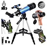 MaxUSee 70mm Refractor Telescope with Adjustable Tripod for Kids Adults & Beginners + Portable 10X42...