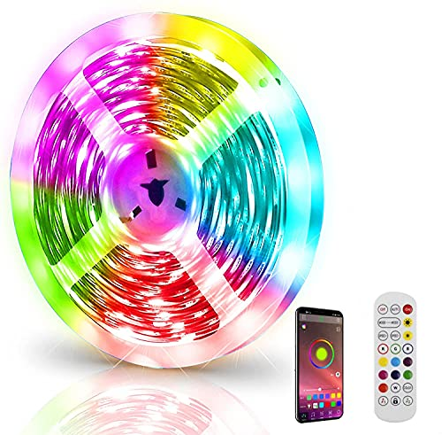 JWTPRO RGB LED Strip 5M Wasserdicht, LED Lichterkette Außen mit Fernbedienung, Bluetooth APP Kontroller LED Streifen Sync mit Musik für Schlafzimmer, 5050 150 LEDs, Timer, mit 220V EU Netzteil Power