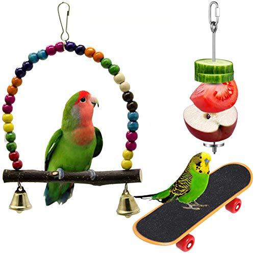 ODOOKON Juguetes de Loro Pájaro, Columpios, Patineta Loro, Varilla de alimentación de Frutas, Juguete de Masticación para Pequeños y Medianos Loros de Aves, Periquitos, Pinzones