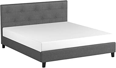 Baxton Studio Annette Linen Modern Bed with Upholstered Headboard, Grey, Full by Baxton Studio