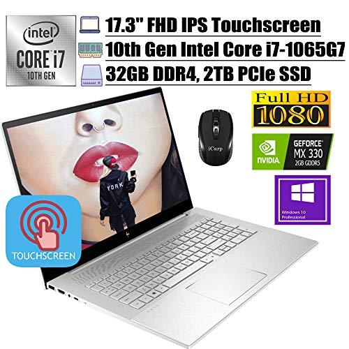2020 Premium HP Envy 17 Business Laptop, 17.3'FHD IPS Touchscreen, 10th Gen Intel Quad-Core i7-1065G7, 32GB DDR4 2TB PCIe SSD, 2GB MX330FP Backlit KB Alexa Win 10 Pro + iCarp Wireless Mouse