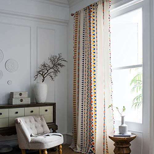 """vctops Bohemian Geometric Print Cotton Linen Curtains Panel with Colorful Pompom Country Room Darkening Bedroom Living Room Thermal Insulated Window Treatment 1 Panel (59""""x87"""",Geometric)"""