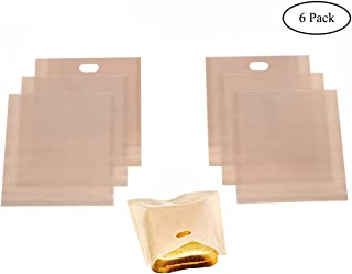 Homezal 6 Pack Non Stick Reusable Toaster Bags, 2 Different Sizes, Gluten Free, FDA Approved, Perfect for Sandwiches Pastries Pizza Slices Chicken Nuggets and More